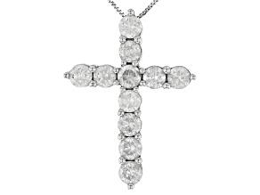 "White Diamond 10k White Gold Cross Pendant With 18"" Box Chain 2.25ctw"