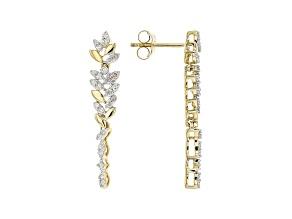 White Diamond 10K Yellow Gold Floral Inspired Dangle Earrings 0.35ctw