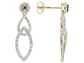 Champagne And White Diamond 10K Yellow Gold Dangle Earrings 0.75ctw