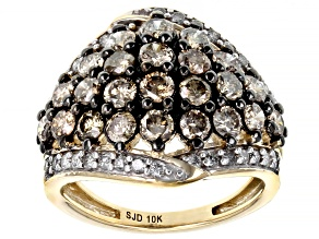 Champagne And White Diamond 10k Yellow Gold Cluster Ring 2.00ctw