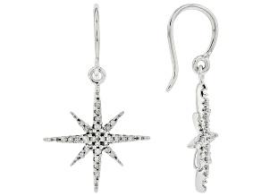 White Diamond 10k White Gold Star Dangle Earrings 0.20ctw