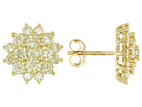Natural Yellow Diamond 10k Yellow Gold Cluster Stud Earrings 2.00ctw