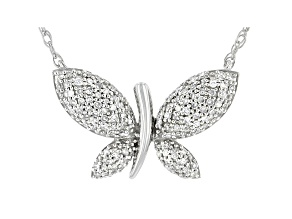 White Diamond 10k White Gold Butterfly Necklace 0.20ctw
