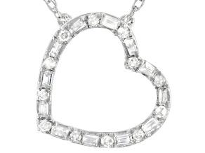 White Diamond 10k White Gold Heart Necklace 0.15ctw
