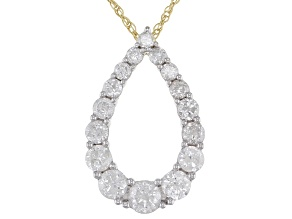 "White Diamond 10k Yellow Gold Teardrop Pendant With 18"" Rope Chain 1.00ctw"