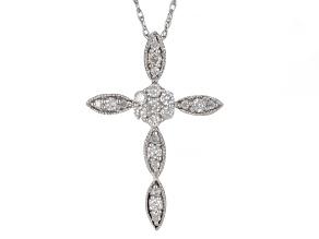 White Diamond 10k White Gold Cross Pendant With Chain 0.25ctw