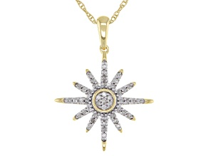 """White Diamond 10k Yellow Gold Star Pendant With 18"""" Rope Chain 0.15ctw"""