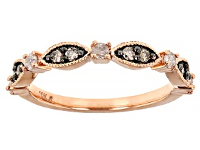 Champagne And White Diamond 10k Rose Gold Band Ring 0.25ctw