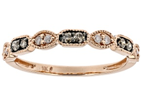 Champagne And White Diamond 10k Rose Gold Band Ring 0.10ctw