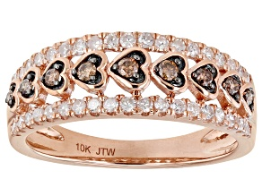 White And Champagne Diamond 10k Rose Gold Wide Band Heart Ring 0.50ctw