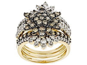 Champagne And White Diamond 10K Yellow Gold Stackable Cluster Ring Set 2.10ctw