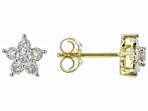 White Diamond 10k Yellow Gold Floral Earrings 0.50ctw