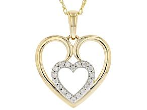 White Diamond 10k Yellow Gold Heart Pendant With Chain 0.15ctw