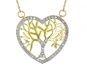 White Diamond 10k Yellow Gold Heart And Tree Necklace 0.25ctw