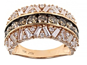 Champagne And White Diamond 10k Rose Gold Wide Band Ring 2.00ctw