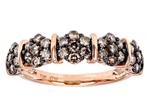 Champagne Diamond 10k Rose Gold Cluster Band Ring 1.00ctw