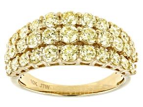 Natural Yellow Diamond 10k Yellow Gold Multi-Row Ring 2.00ctw
