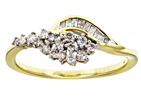 White Diamond 10k Yellow Gold Cluster Ring 0.25ctw