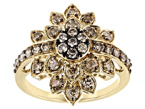 Champagne Diamond 10K Yellow Gold Floral Cluster Ring 1.00ctw