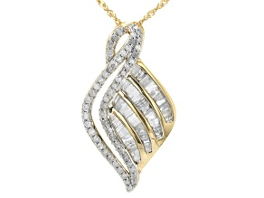 White Diamond 10K Yellow Gold Cluster Pendant With Chain 1.00ctw
