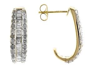 White Diamond 10K Yellow Gold J-Hoop Earrings 1.00ctw