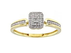 White Diamond 10K Yellow Gold Cluster Ring 0.15ctw