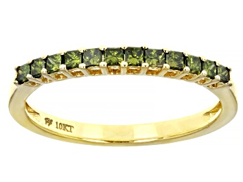 Picture of Green Diamond 10k Yellow Gold Band Ring 0.33ctw