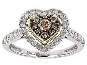 White And Champagne Diamond 10k White And Yellow Gold Heart Cluster Ring 0.75ctw