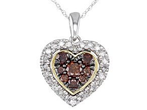 """Champagne & White Diamond 10k White & Yellow Gold Heart Cluster Pendant With 18"""" Rope Chain 0.75ctw"""