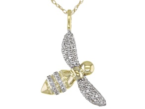 """White Diamond 10k Yellow Gold Bee Pendant With 18"""" Rope Chain 0.15ctw"""