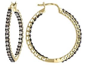Champagne Diamond 10k Yellow Gold Inside-Outside Hoop Earrings 1.00ctw