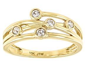 White Diamond 10k Yellow Gold Open Design Band Ring 0.20ctw