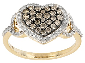 Champagne And White Diamond 10K Yellow Gold Heart Cluster Ring 0.75ctw