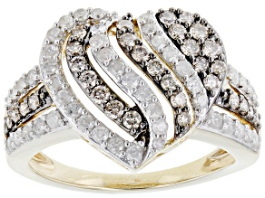 Champagne And White Diamond 10K Yellow Gold Heart Cluster Ring 1.00ctw