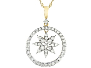 White Diamond 10K Yellow Gold Dangling Flower Pendant With Chain 0.70ctw