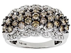 Champagne And White Diamond 10k White Gold Multi-Row Ring 1.80ctw