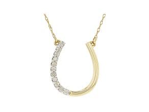 White Diamond 10k Yellow Gold Horseshoe Necklace 0.15ctw