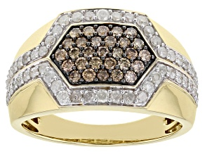 White And Champagne Diamond 10k Yellow Gold Mens Wide Cluster Band Ring 1.20ctw