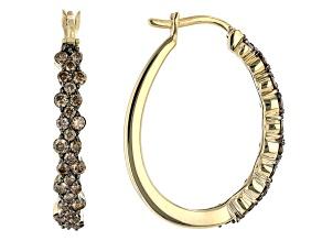 Champagne Diamond 10k Yellow Gold Hoop Earrings 1.00ctw
