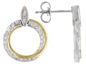 White Diamond 10k Yellow And White Gold Circular Dangle Earrings 0.20ctw