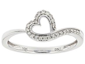 White Diamond 10k White Gold Heart Ring 0.10ctw