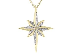 White Diamond 10k Yellow Gold Celestial Pendant With Chain 0.10ctw