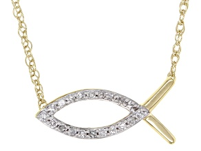 White Diamond Accent 10k Yellow Gold Inspirational Necklace