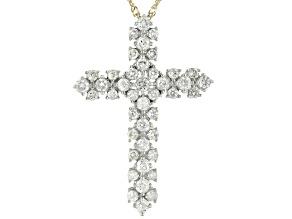 "White Diamond 10k Yellow Gold Cross Pendant With 18"" Singapore Chain 1.00ctw"
