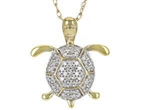 """White Diamond 10k Yellow Gold Turtle Pendant With 18"""" Rope Chain 0.10ctw"""
