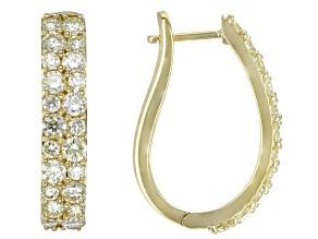 Natural Yellow Diamond 10k Yellow Gold Hoop Earrings 2.00ctw