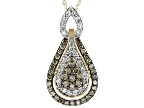 Champagne And White Diamond 10k Yellow Gold Pendant With Chain 1.05ctw
