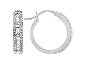 White Diamond 10k White Gold Hoop Earrings 0.55ctw