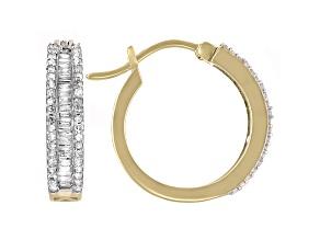White Diamond 10k Yellow Gold Hoop Earrings 0.55ctw