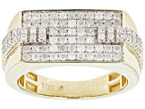 White Diamond 10k Yellow Gold Mens Cluster Ring 0.80ctw